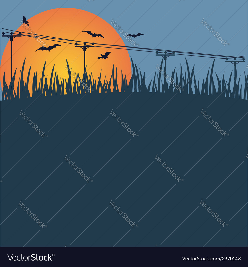 Background - a sunset bats vector | Price: 1 Credit (USD $1)