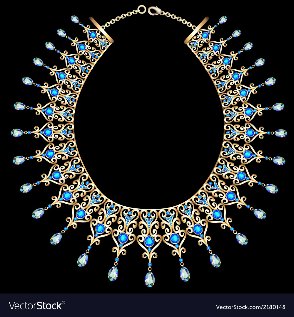 Blue female necklace vector | Price: 1 Credit (USD $1)
