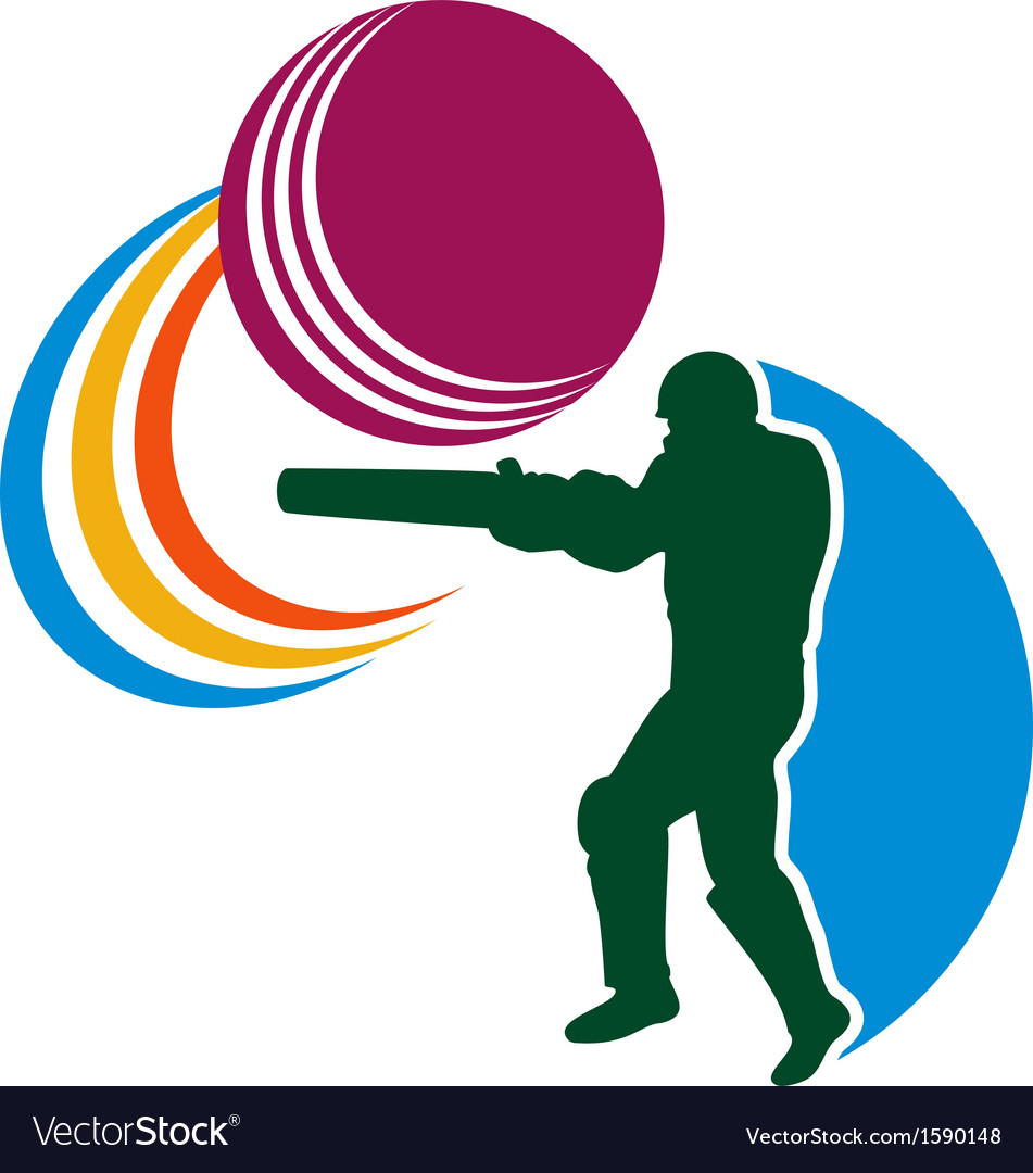 Cricket player batsman batting ball vector | Price: 1 Credit (USD $1)