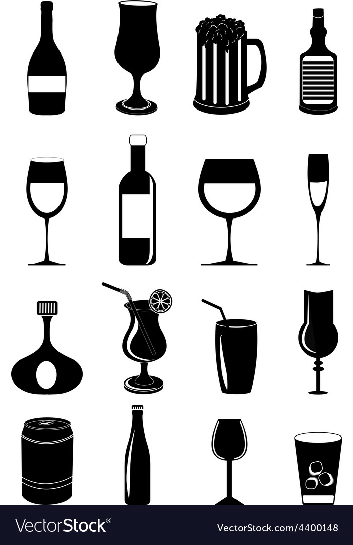 Drink glasses icons set vector | Price: 3 Credit (USD $3)