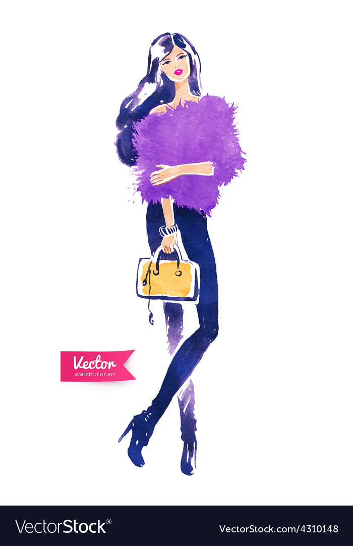 Fashion model with bag vector | Price: 1 Credit (USD $1)