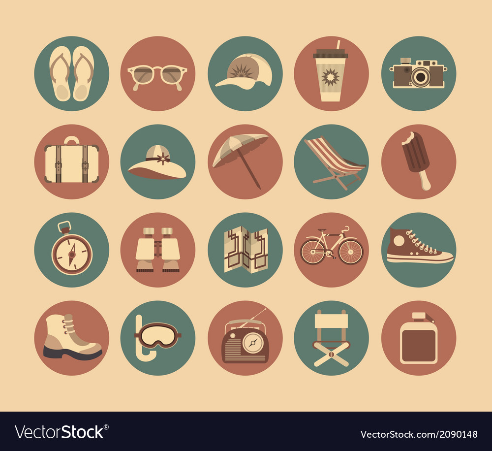 Flat travel icons vector | Price: 1 Credit (USD $1)