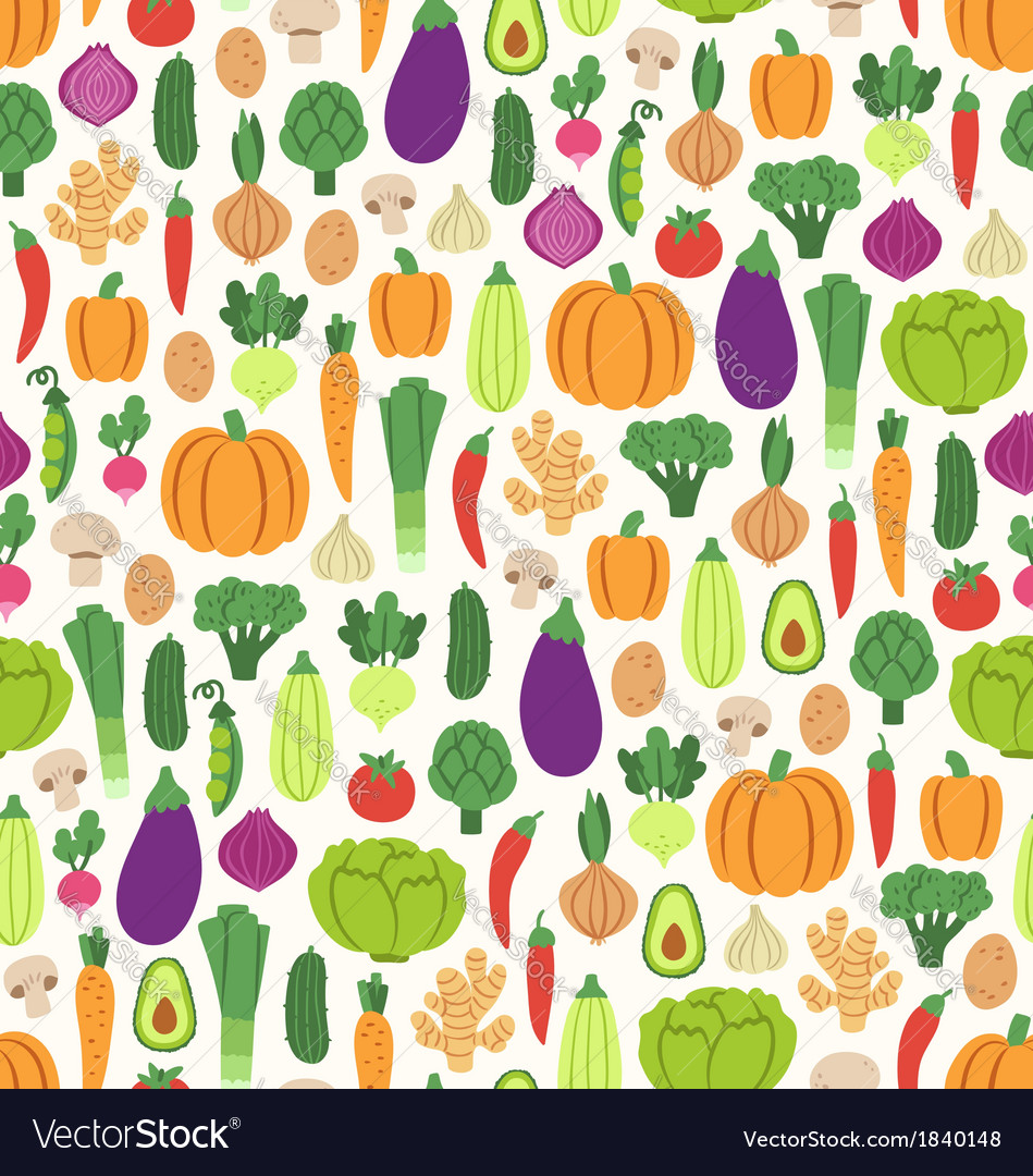 Flat vegetables pattern vector | Price: 1 Credit (USD $1)