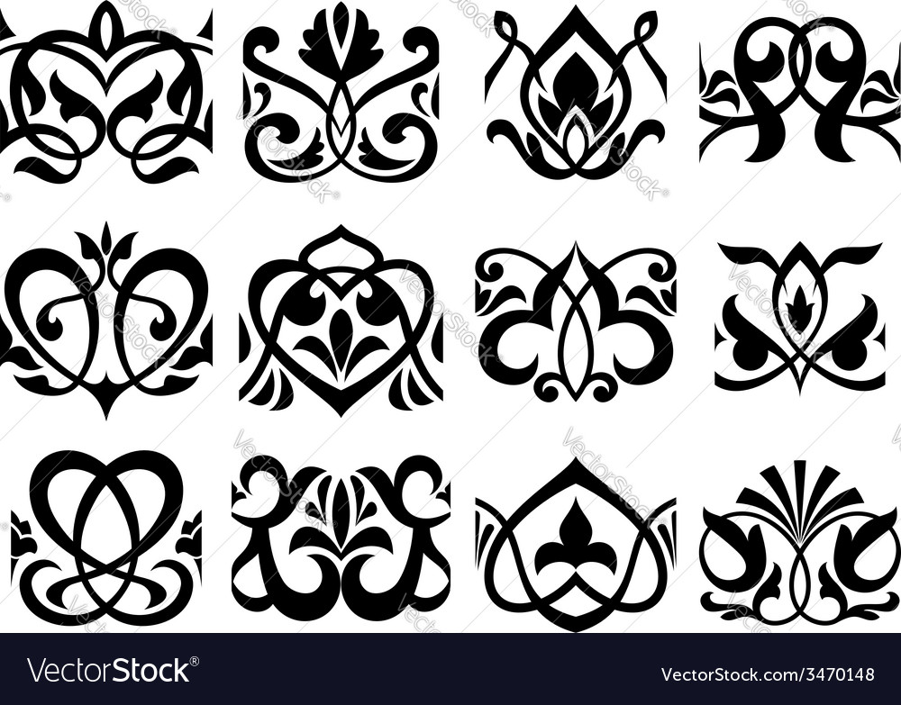 Floral retro ornament design elements vector | Price: 1 Credit (USD $1)