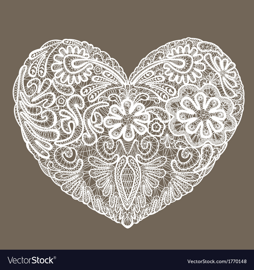 Heart shape is made of lace doily element for vale vector | Price: 1 Credit (USD $1)