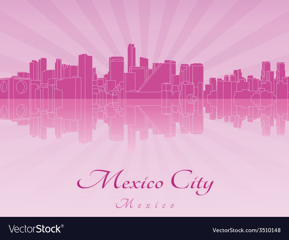Mexico city skyline in purple radiant orchid in vector | Price: 1 Credit (USD $1)