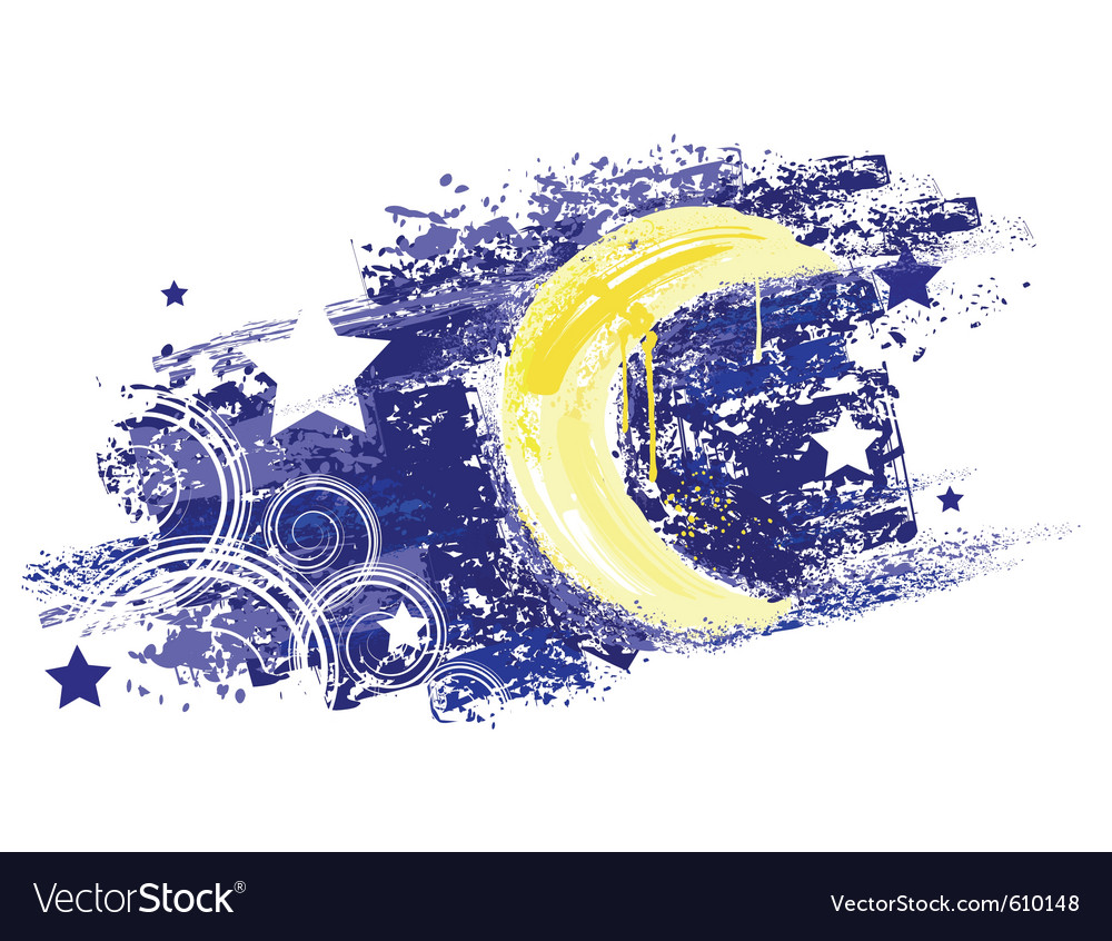 Moon and night sky with stars painted saturated ye vector | Price: 1 Credit (USD $1)