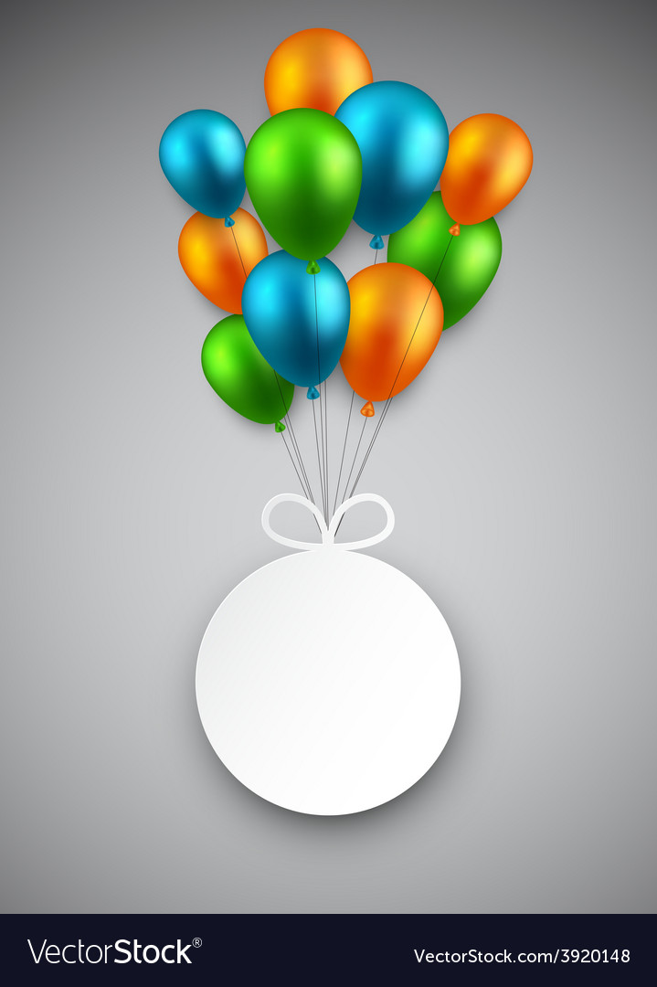 Round paper label on balloons vector | Price: 1 Credit (USD $1)