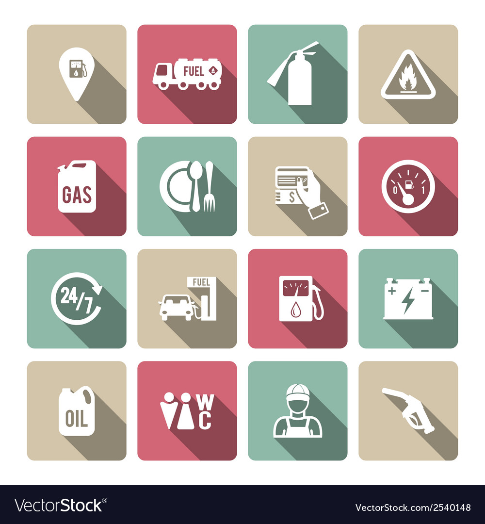 Set of auto gasoline service icon vector | Price: 1 Credit (USD $1)