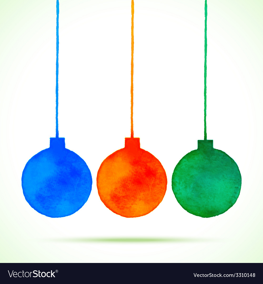 Watercolor hand drawn christmas balls vector | Price: 1 Credit (USD $1)