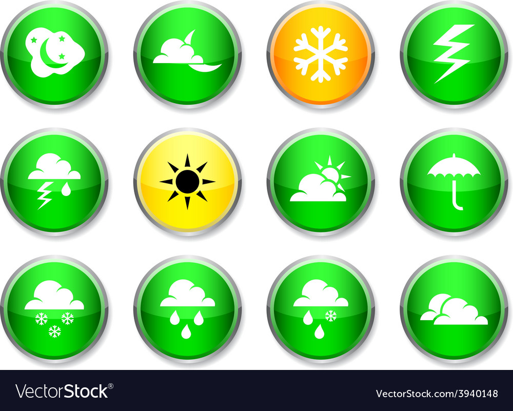 Weather round icons vector | Price: 1 Credit (USD $1)