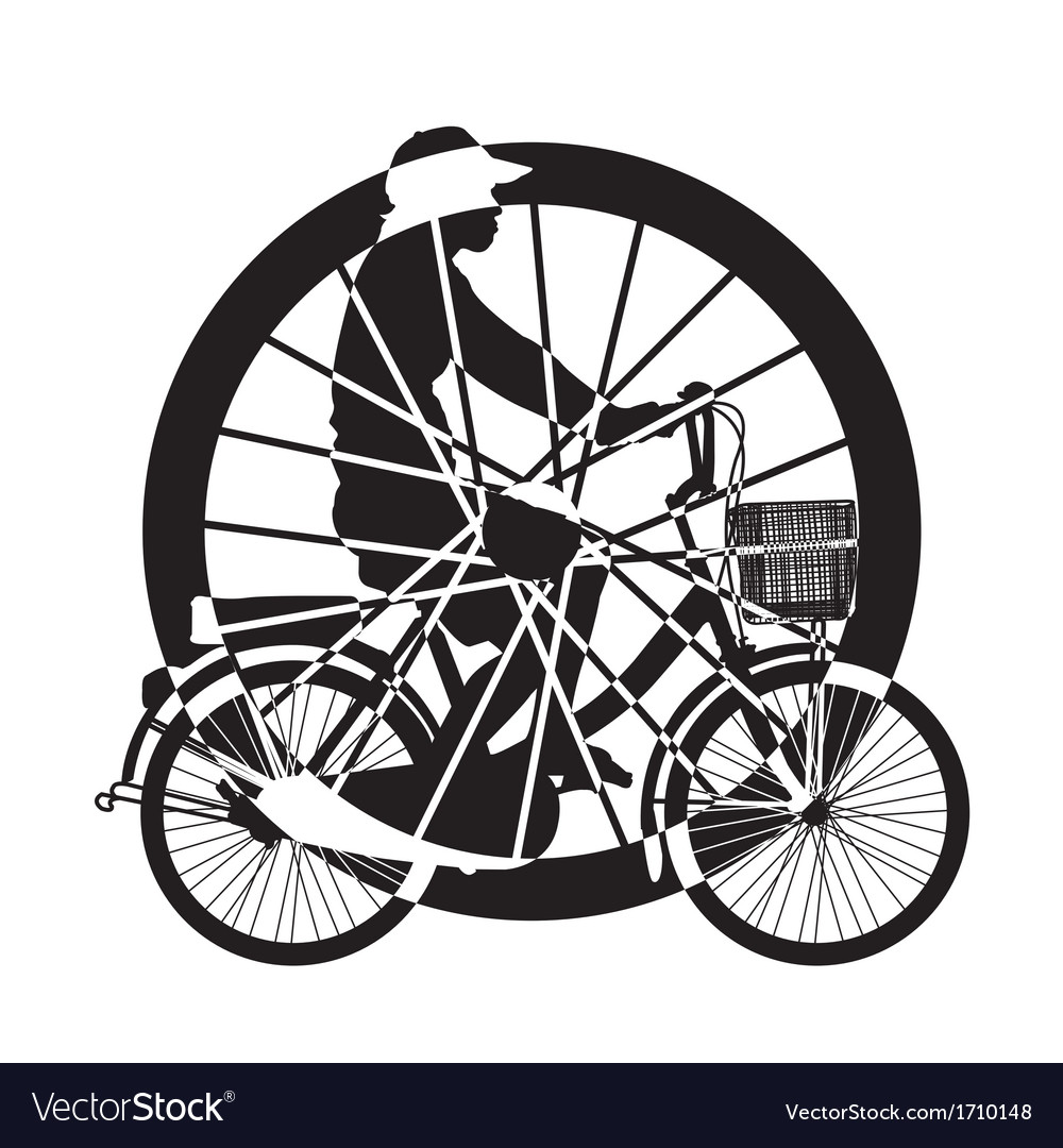 Wheel of ride bicycle silhouette vector | Price: 1 Credit (USD $1)