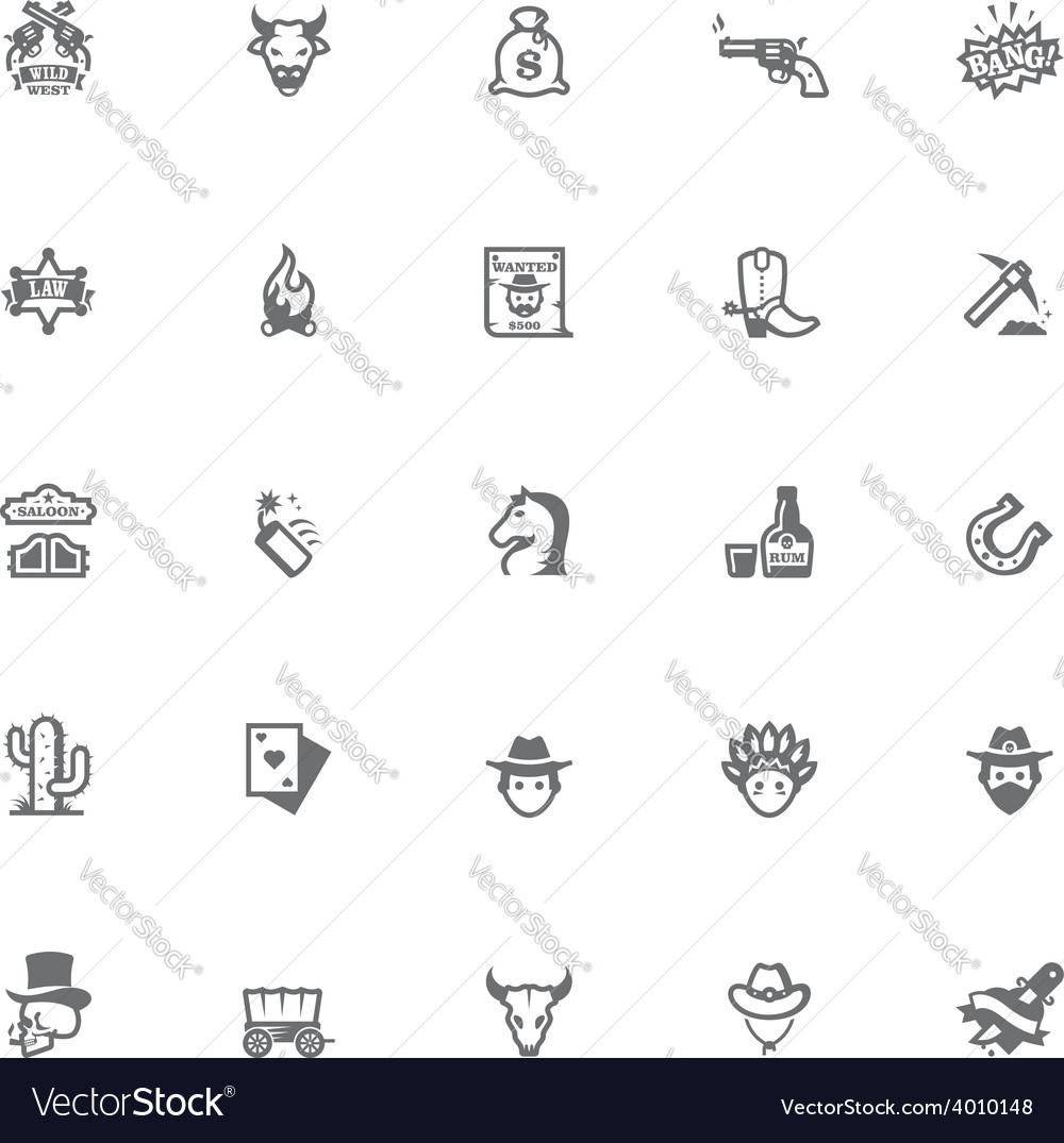 Wild west icon set vector | Price: 1 Credit (USD $1)