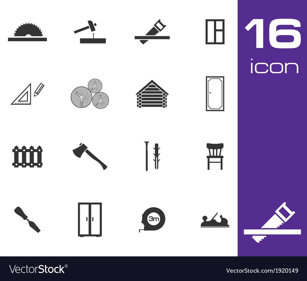 Black carpentry icons set on white background vector | Price: 1 Credit (USD $1)