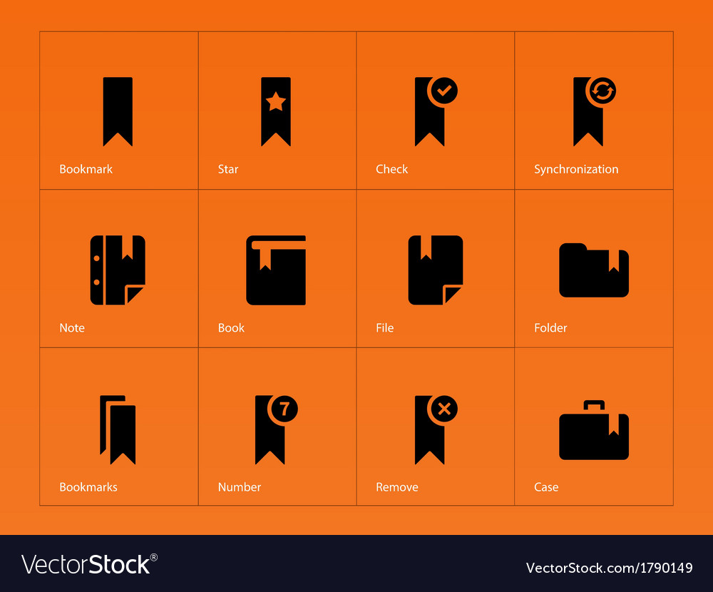 Bookmark favorite icons on orange background vector | Price: 1 Credit (USD $1)