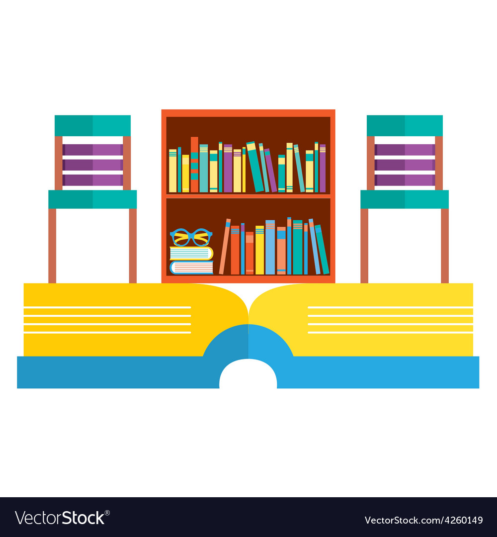 Colorful chairs and bookcase on huge book vector | Price: 1 Credit (USD $1)