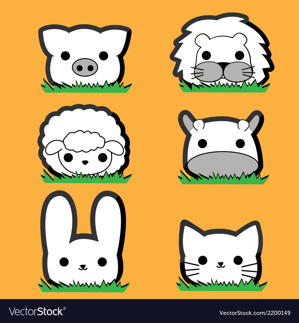 Cute little animal set vector | Price: 1 Credit (USD $1)