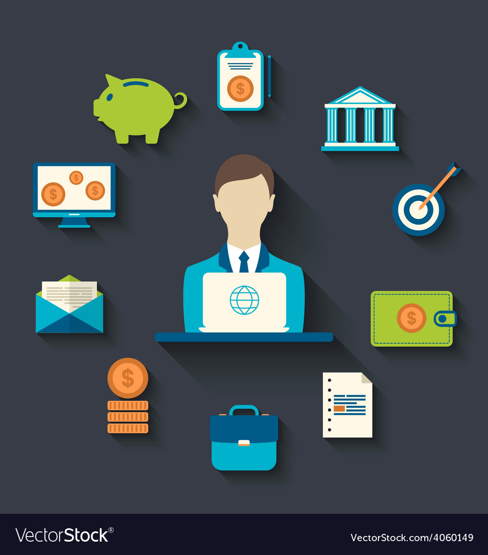 Financial and business icons flat design vector   Price: 1 Credit (USD $1)