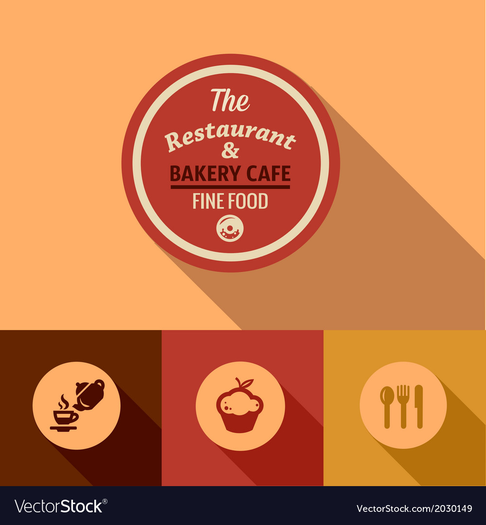 Flat fine food design elements vector | Price: 1 Credit (USD $1)