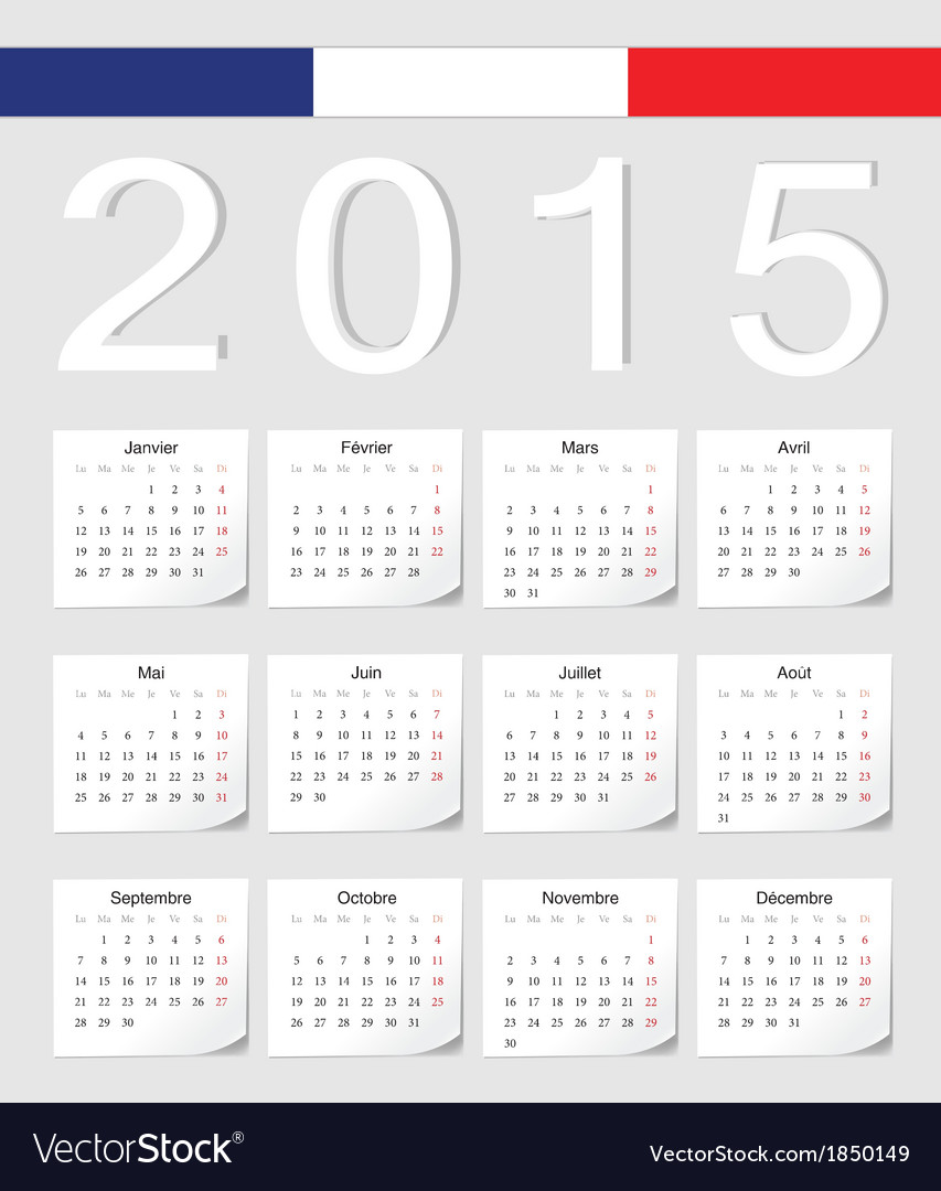 French 2015 calendar with stickers vector | Price: 1 Credit (USD $1)