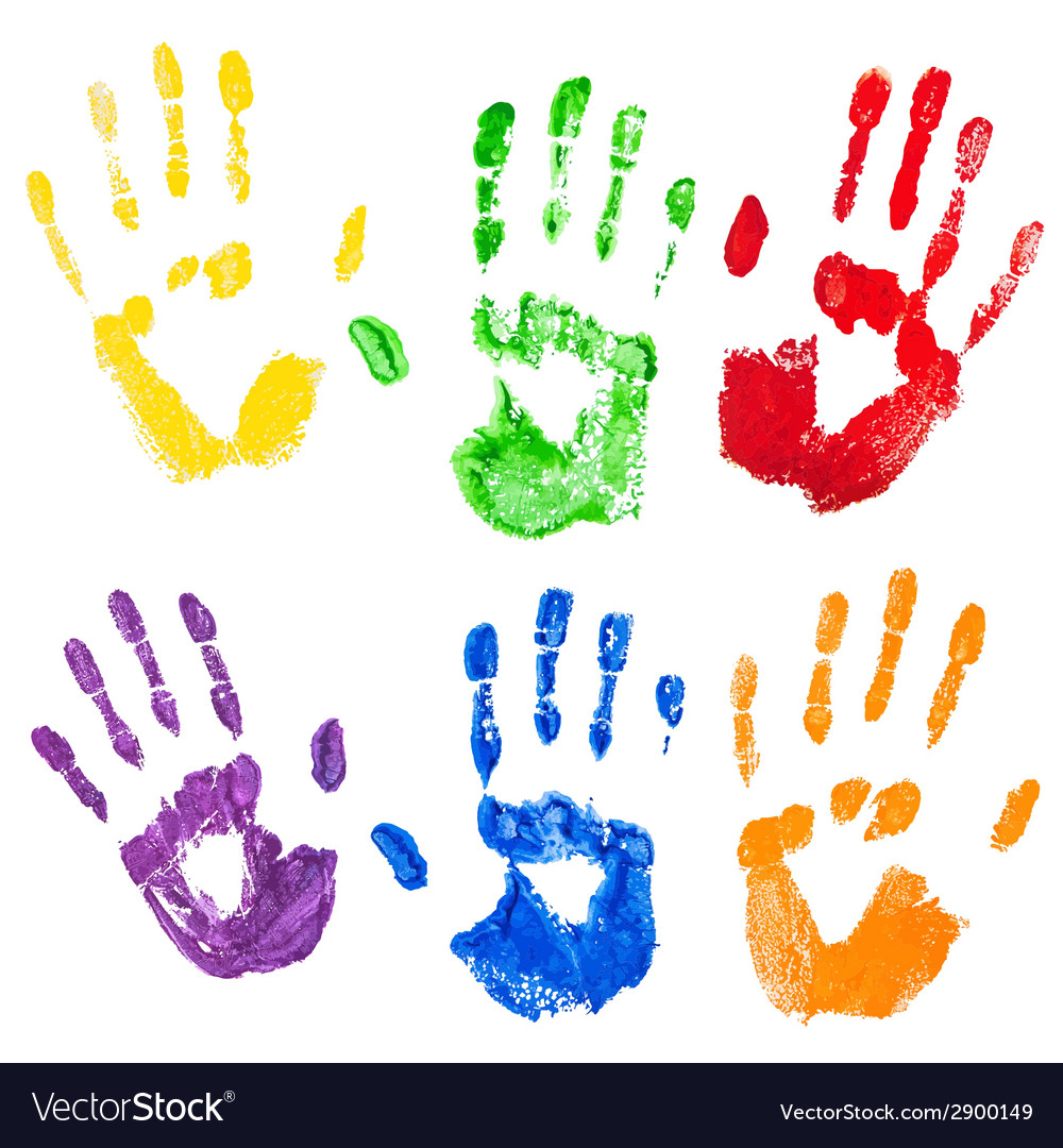 Isolated multicolored paint hand prints vector | Price: 1 Credit (USD $1)