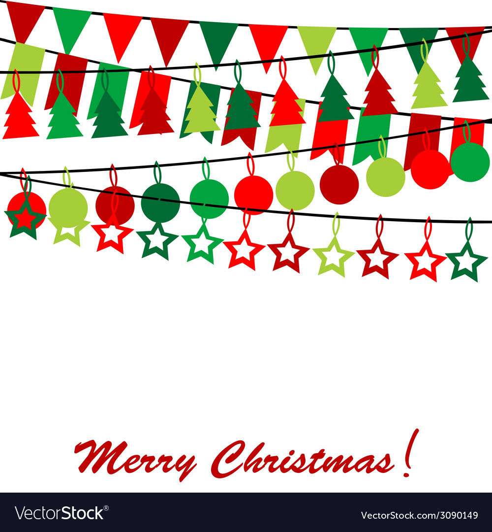 Merry christmas card with bunting and garlands vector | Price: 1 Credit (USD $1)