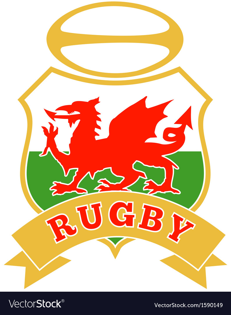 Rugby ball wales red welsh dragon shield vector | Price: 1 Credit (USD $1)
