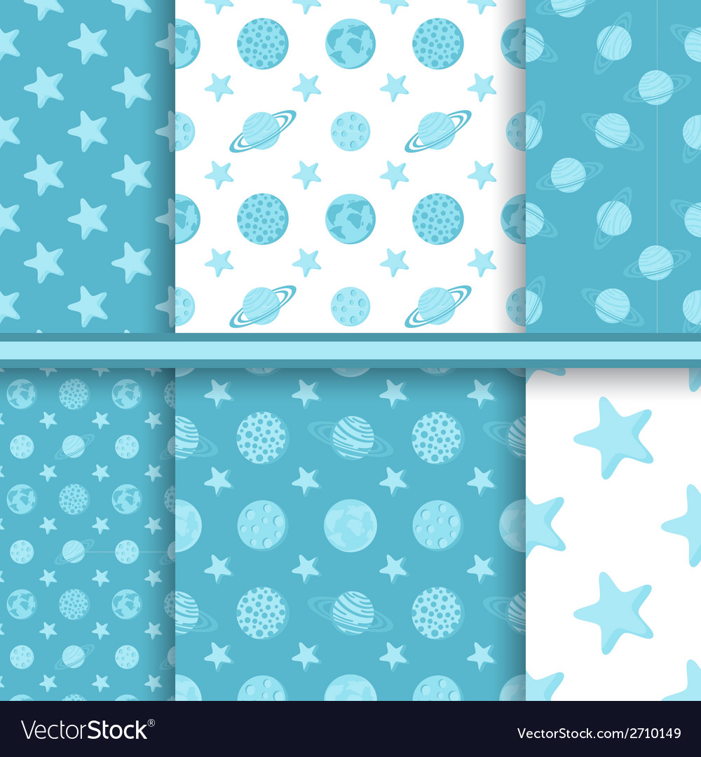 Set of space seamless patterns with planets and vector | Price: 1 Credit (USD $1)