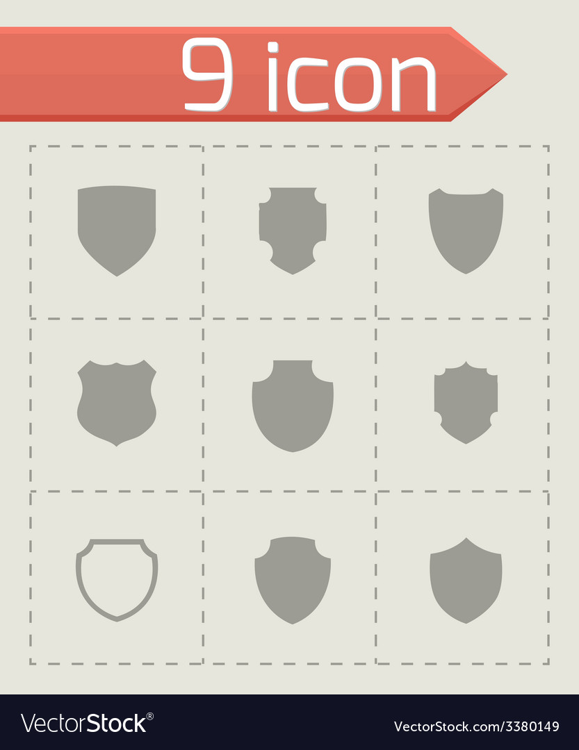 Shield icon set vector | Price: 1 Credit (USD $1)