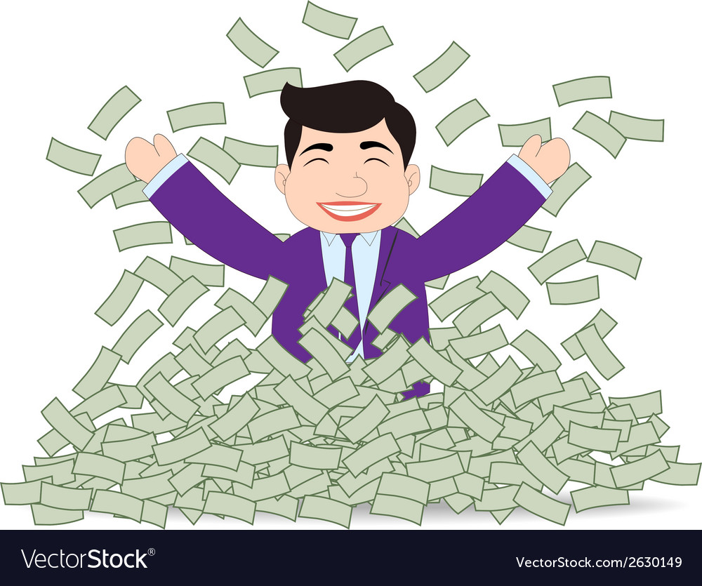 Successful business man mountain money vector | Price: 1 Credit (USD $1)