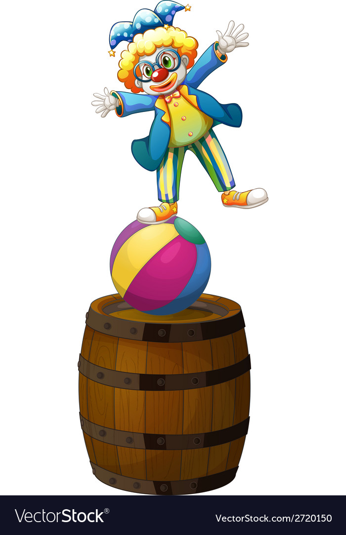 A clown showing some tricks vector | Price: 1 Credit (USD $1)