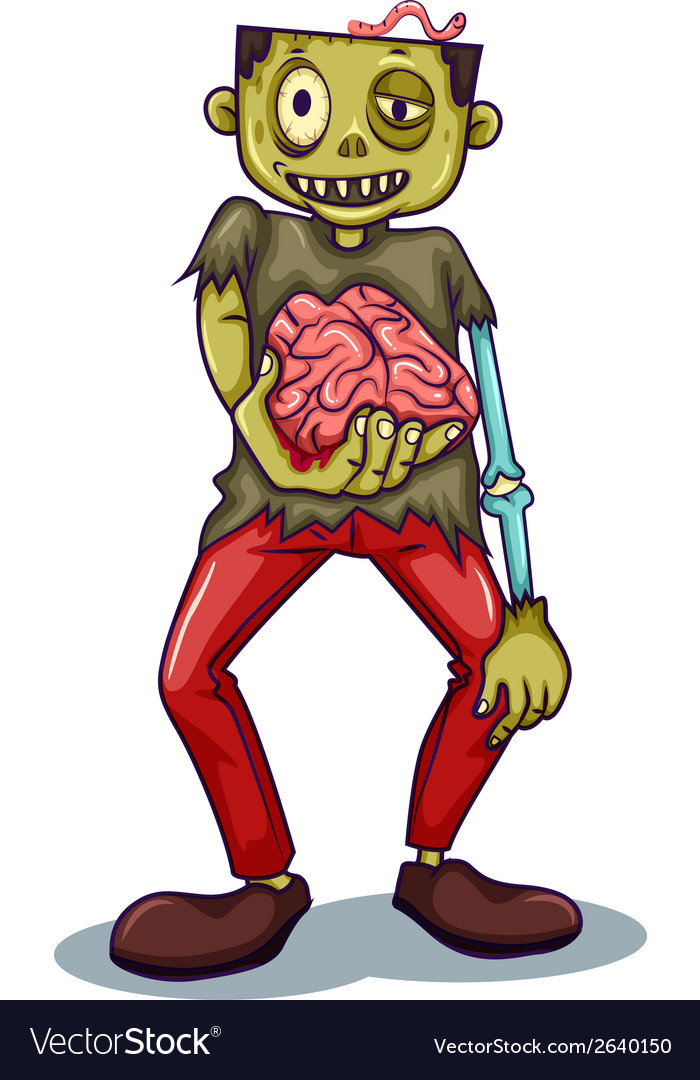 A zombie holding his brain vector | Price: 3 Credit (USD $3)