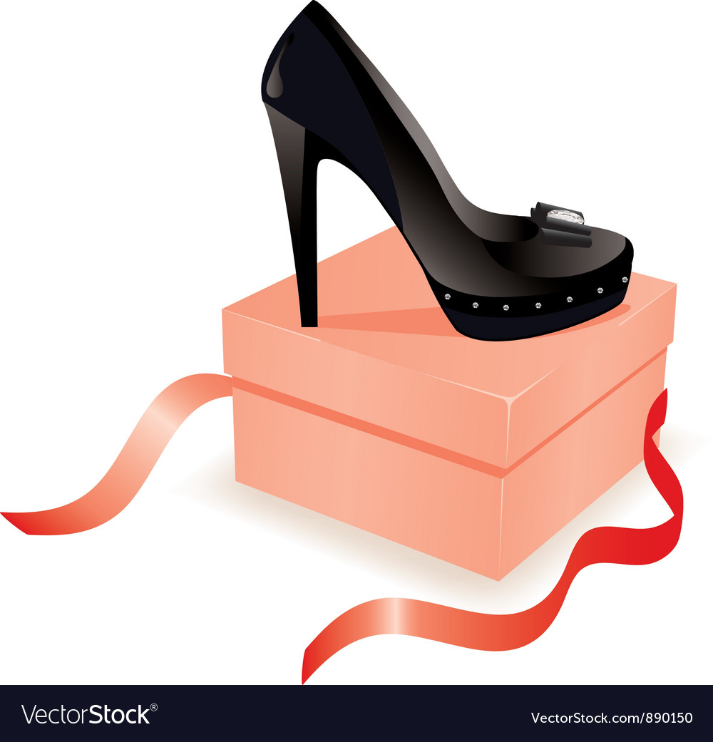Black shoe on the box vector | Price: 1 Credit (USD $1)