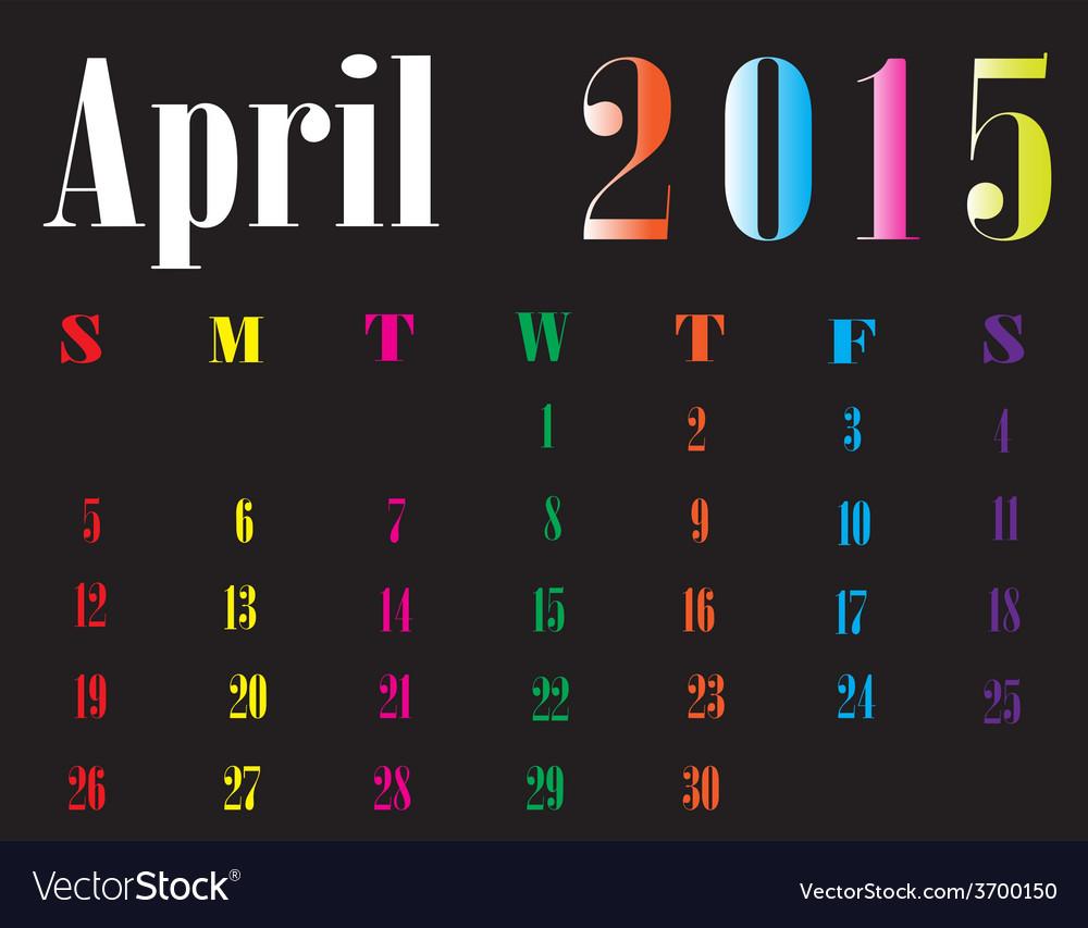 Calendar april 2015 vector | Price: 1 Credit (USD $1)