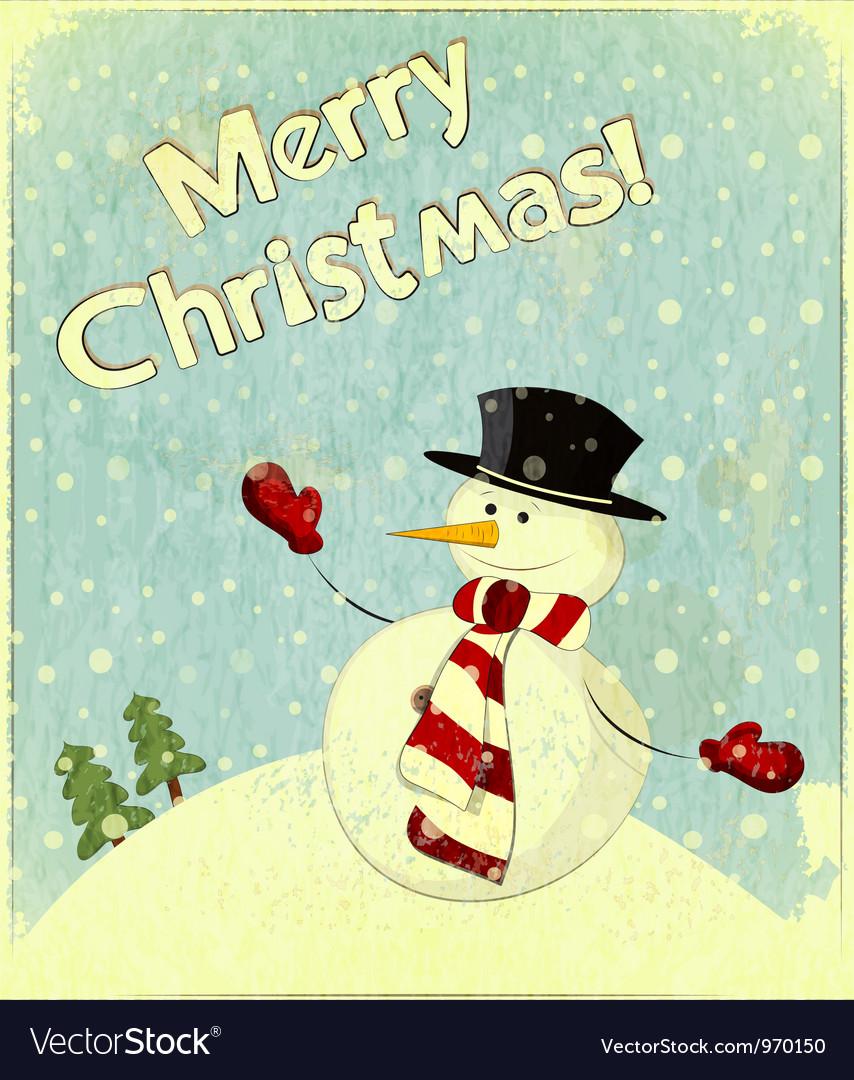 Christmas retro snowman vector   Price: 1 Credit (USD $1)