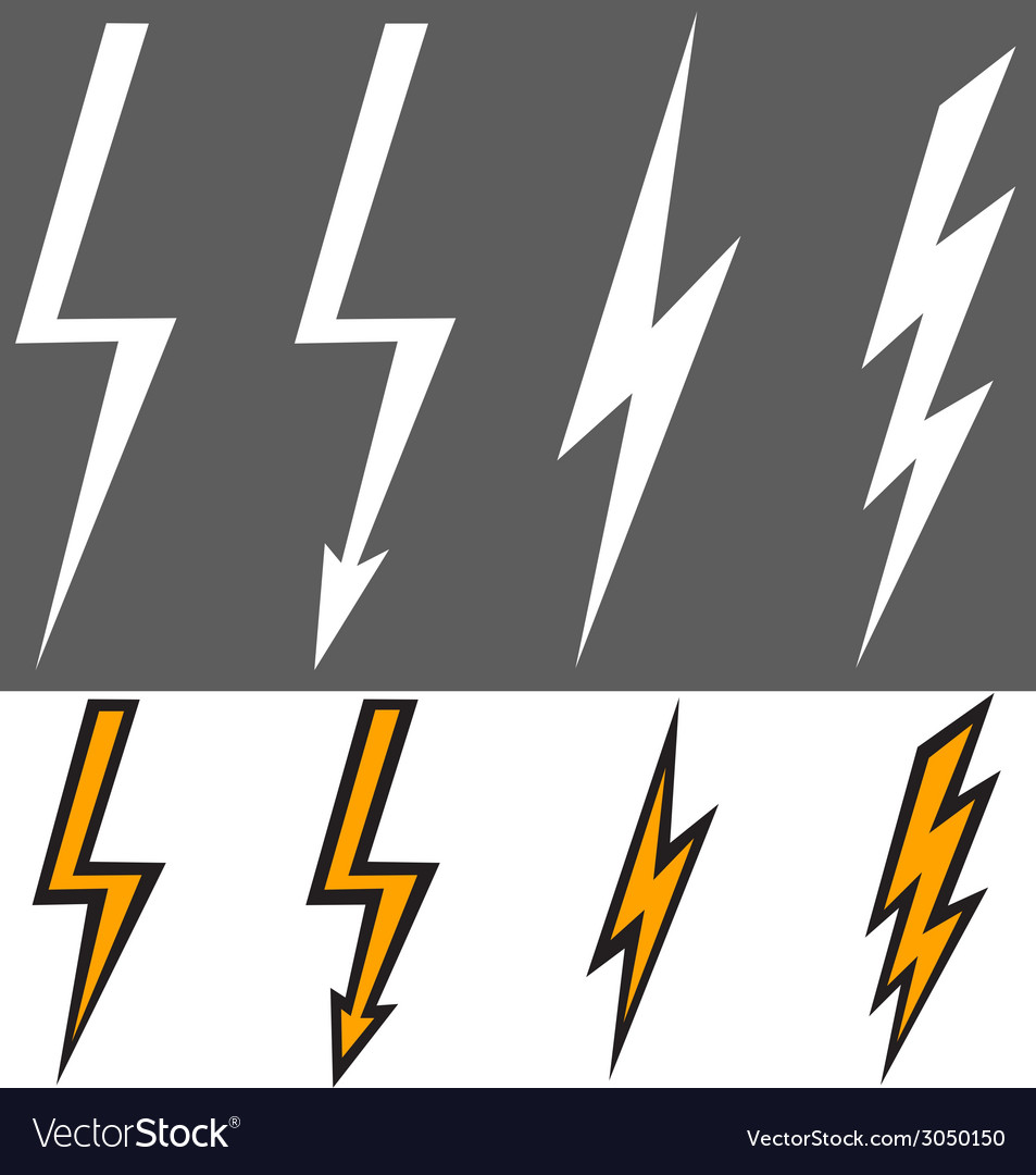 Flat lightning signs vector | Price: 1 Credit (USD $1)