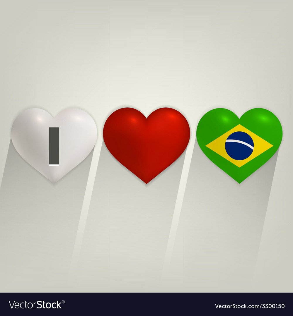 I love brazil with heart vector | Price: 1 Credit (USD $1)