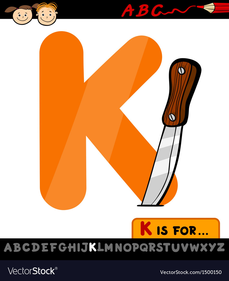 Letter k with knife cartoon vector | Price: 1 Credit (USD $1)