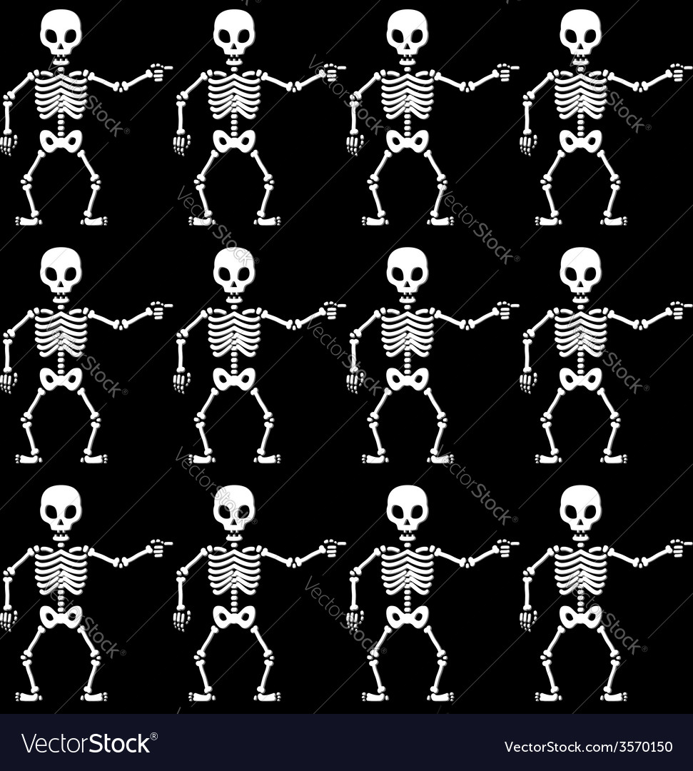 Pointing skeletons pattern vector | Price: 1 Credit (USD $1)