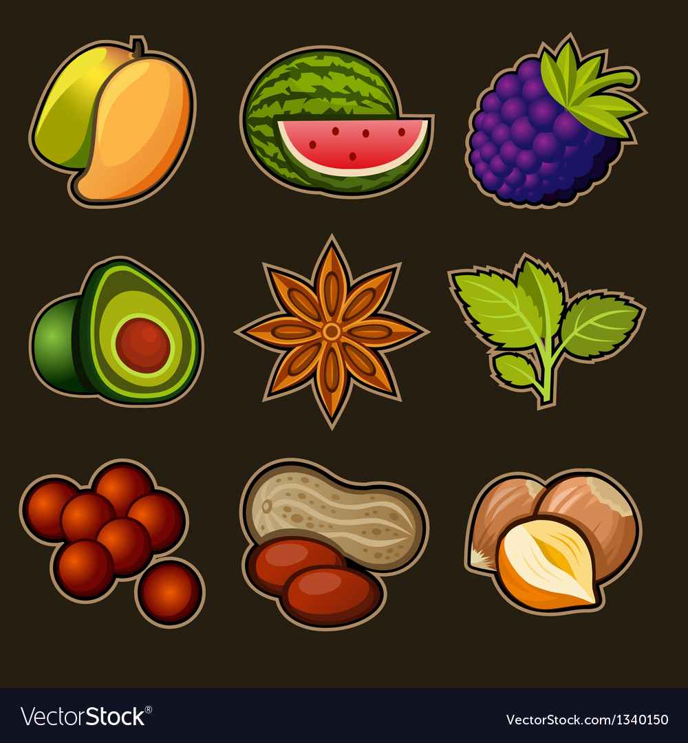 Set of fruit icons vector | Price: 3 Credit (USD $3)