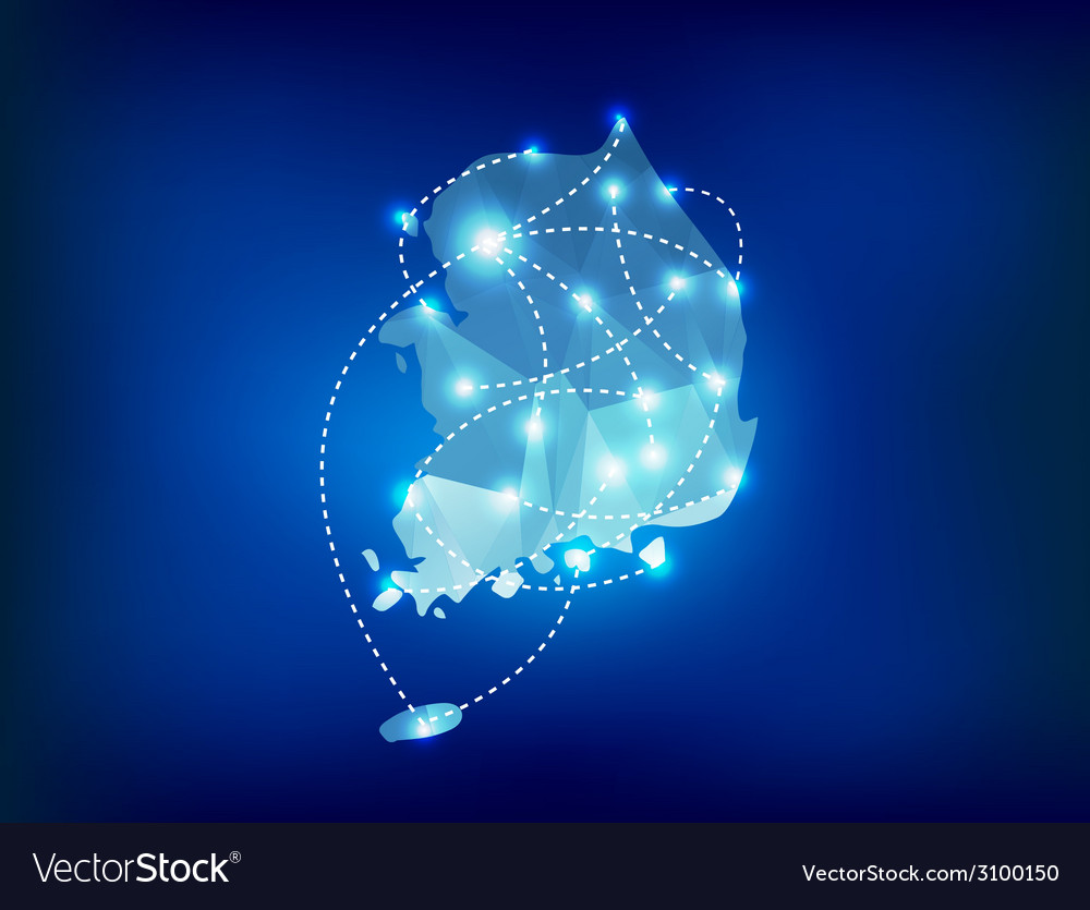 South korea country map polygonal with spot lights vector   Price: 1 Credit (USD $1)