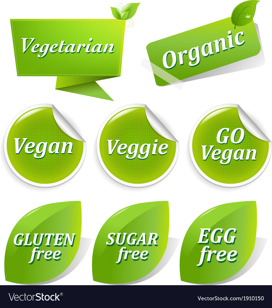 Vegan labels big set vector | Price: 1 Credit (USD $1)