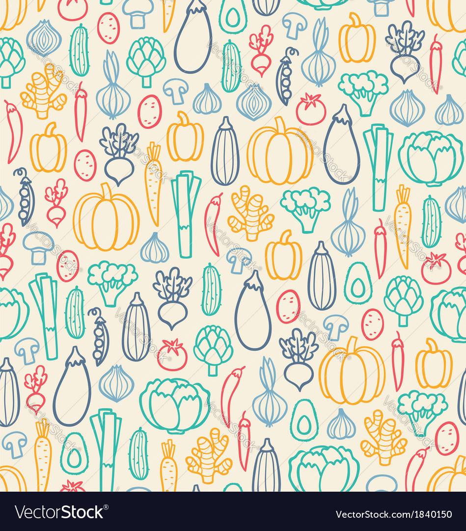 Vintage vegetables pattern vector | Price: 1 Credit (USD $1)