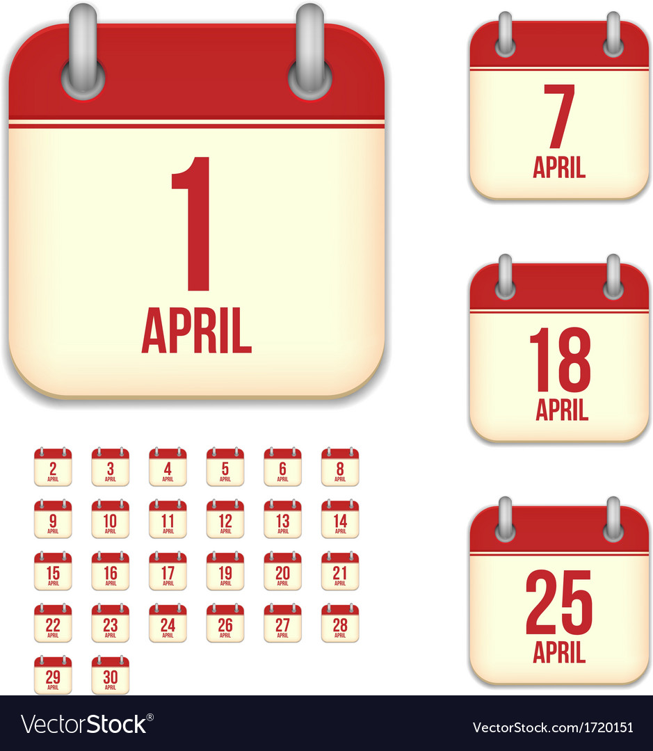 April calendar icons vector | Price: 1 Credit (USD $1)