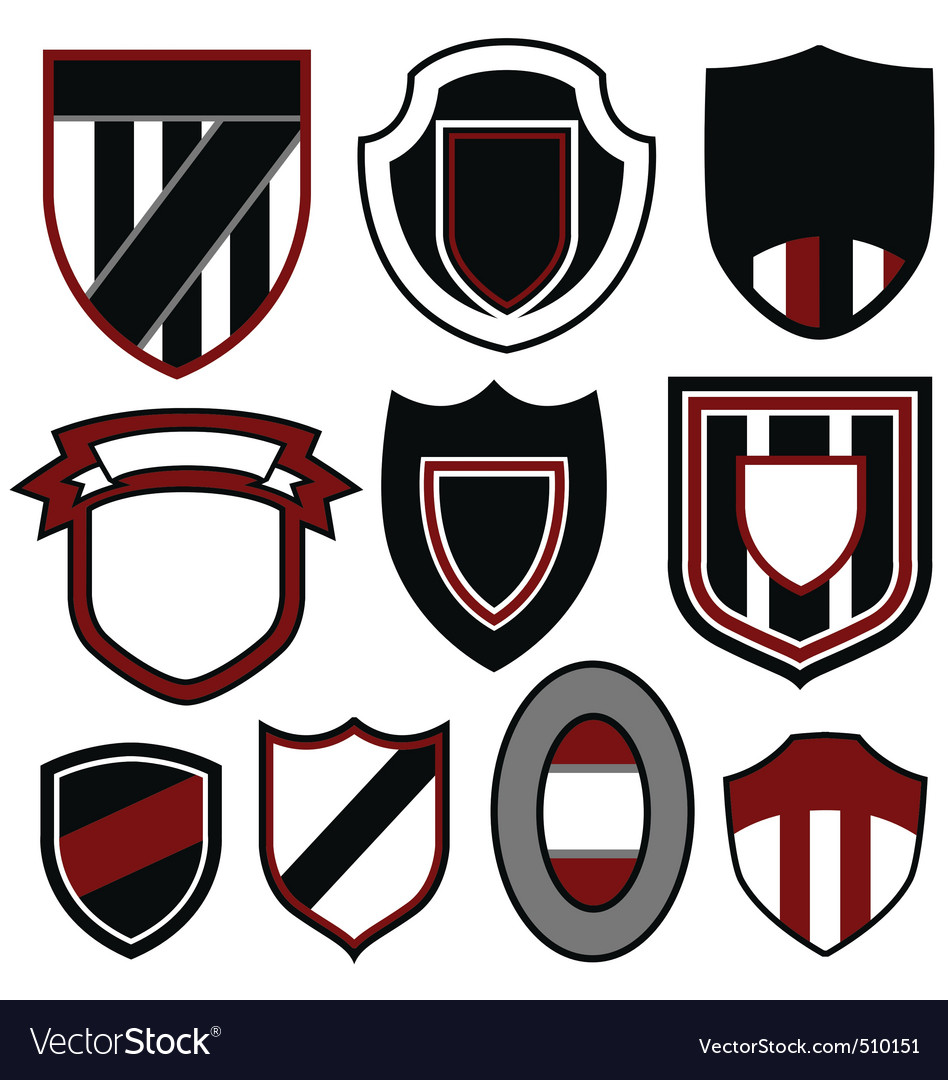 Badge emblem shield set vector | Price: 1 Credit (USD $1)