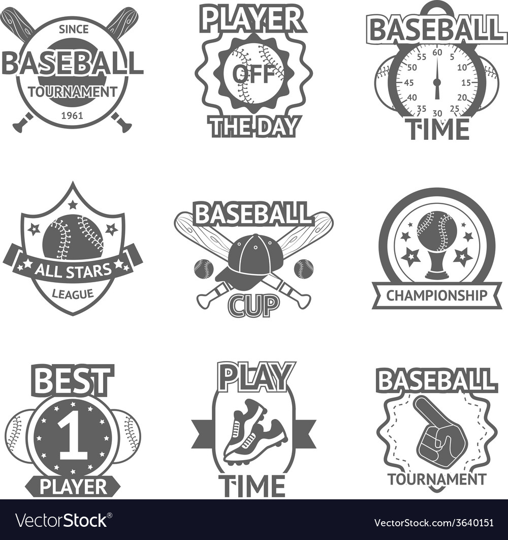 Baseball emblems set vector | Price: 1 Credit (USD $1)