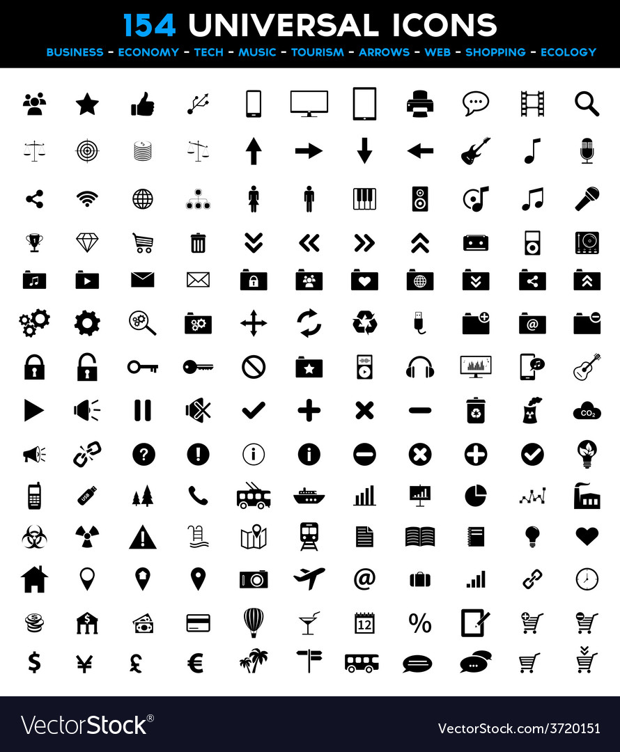 Big set of 154 universal black flat icons vector | Price: 1 Credit (USD $1)