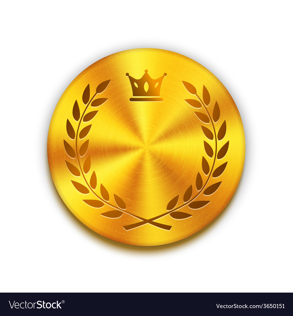 Empty textured golden metal button with crown and vector | Price: 1 Credit (USD $1)