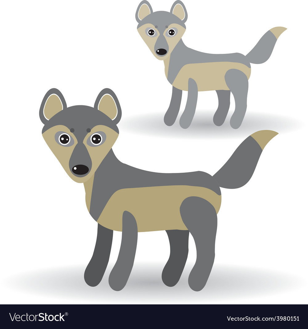Funny gray wolf on a white background vector   Price: 1 Credit (USD $1)