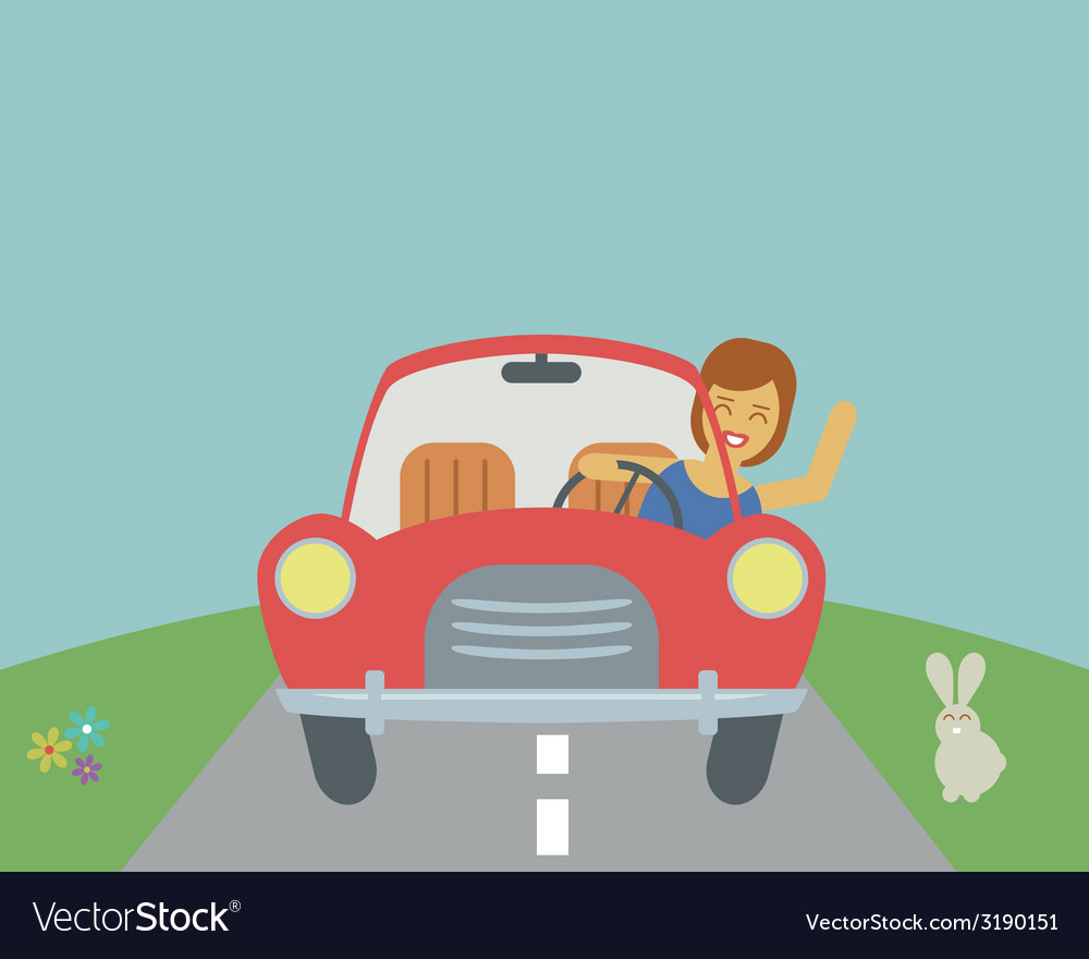 Girl driving car vector | Price: 1 Credit (USD $1)